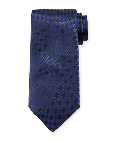Tonal Wave Check Silk Tie, Navy