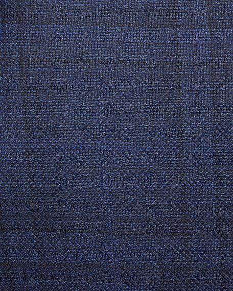 Men's Tonal Plaid Wool Jacket, Navy/Blue