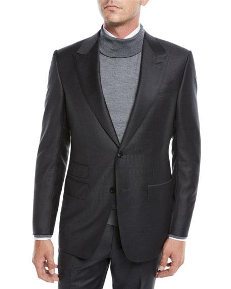 Men's Herringbone Two-Piece Wool Suit