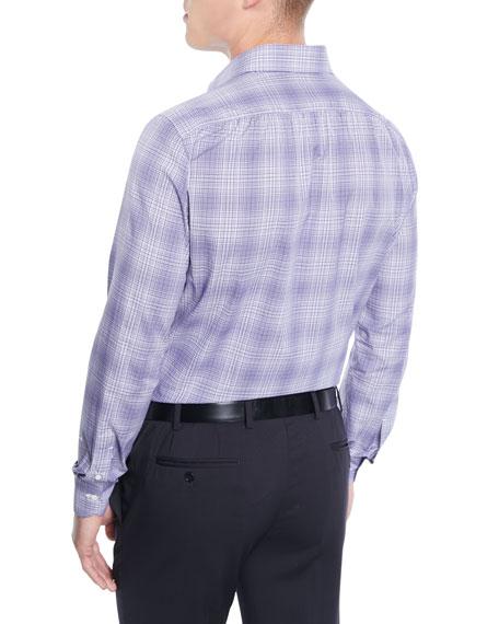 Men's Graph Plaid Cotton Dress Shirt