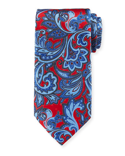 Large Paisley Silk Tie  Red/Blue