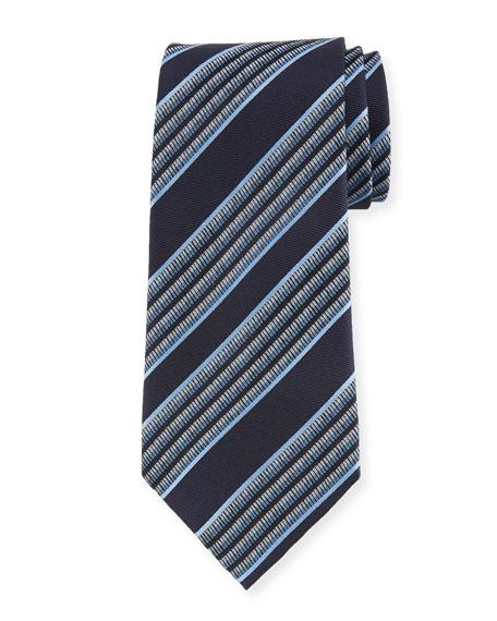 Ermenegildo Zegna Multi-Stripe Silk Tie, Blue