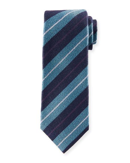 Textured Large-Stripe Silk Tie