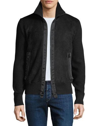 Men's Suede Zip-Front Blouson Jacket