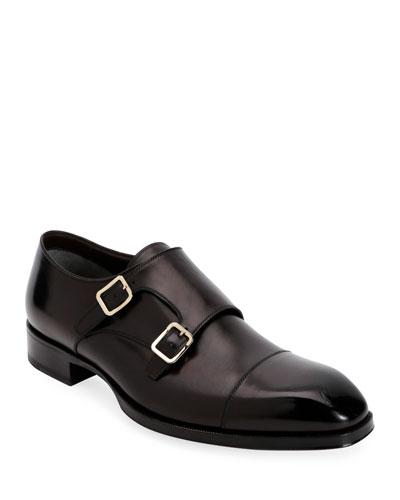 Men's Elkan Double-Monk Leather Loafers