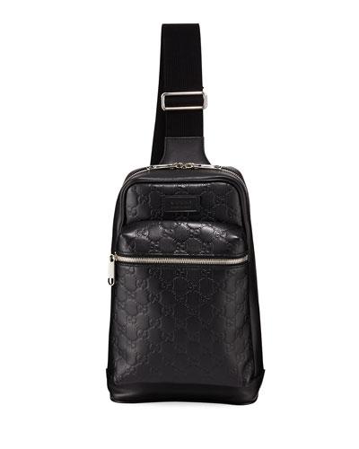 Men's GG Leather Crossbody Backpack