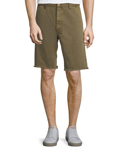Raw-Hem Twill Shorts with Rock-Climbing Rope Trim
