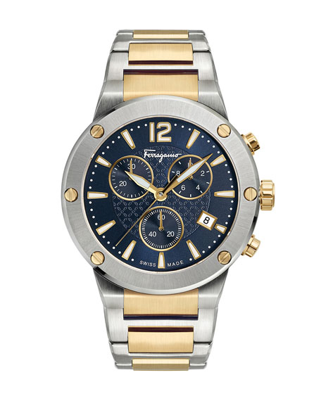 Image 1 of 1: Men's 41mm F-80 Two-Tone Chrono Bracelet Watch, Blue