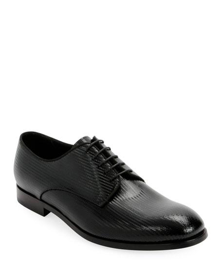 Giorgio Armani Men's Formal Patent Chevron Leather Lace-Up