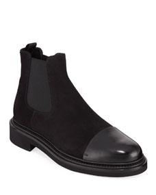 d7e3facfeab9 Giorgio Armani Men s Vachetta Leather Suede Chelsea Boots