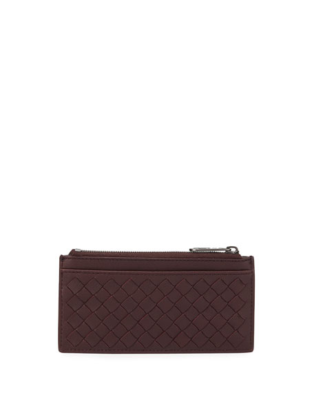 BOTTEGA VENETA Men'S Zip-Top Intrecciato Leather Card Case in Green