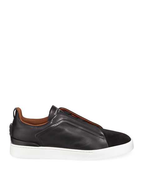 Men's Triple-Stitch Leather/Suede Low-Top Sneakers