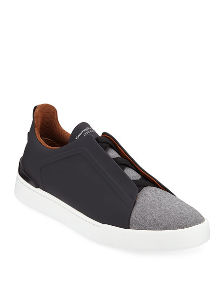 Ermenegildo Zegna Men's Triple-Stitch Leather/Wool Low-Top Sneakers