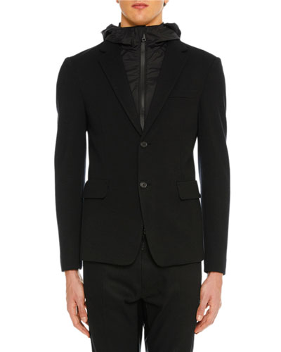 Men's Wool Blazer with Hooded Dickey