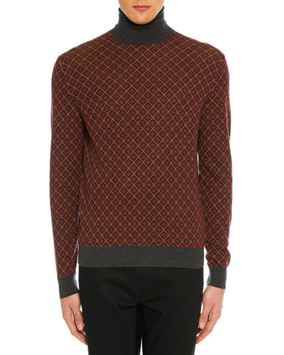 Men's Argyle Turtleneck Sweater