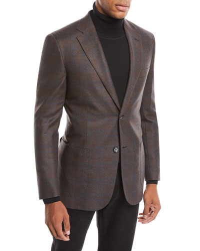 Men's Plaid Wool-Silk Blazer