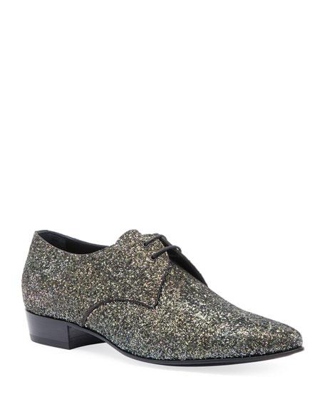 030d7e9ce2 Saint Laurent Men s Hopper Glitter Derby Shoes