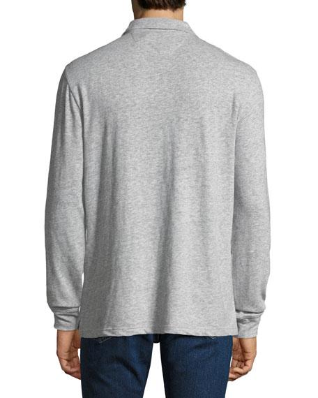 Men's Luxe Heather Long-Sleeve Polo Shirt, Gray
