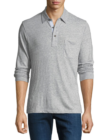 Image 1 of 1: Men's Luxe Heather Long-Sleeve Polo Shirt, Gray