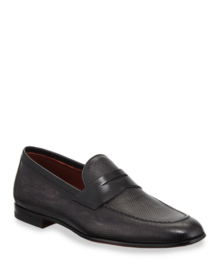 Neiman Marcus MEN'S TEXTURED LEATHER PENNY LOAFERS
