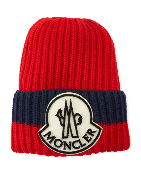 Moncler Men s Ribbed Colorblock Beanie Hat 66d5e3c516d