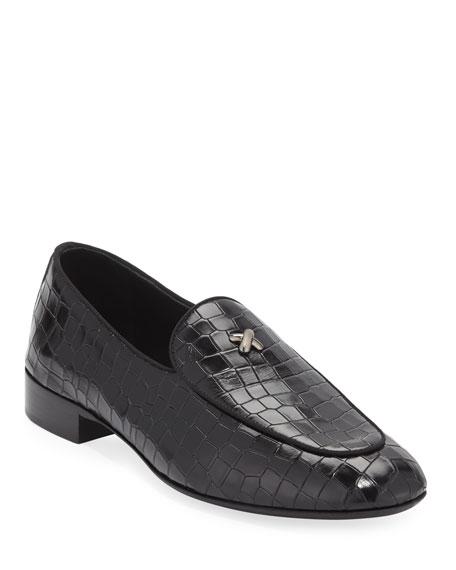 Giuseppe Zanotti Men's Stamped Crocodile Leather Formal Loafer