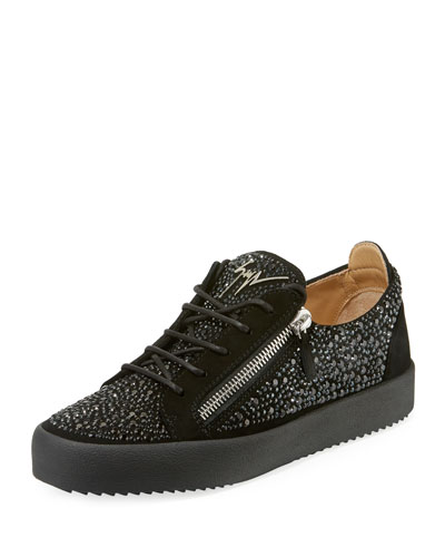 Men's Crystal-Embellished Double-Zip Leather Low-Top Sneakers