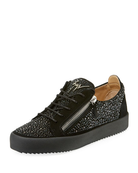 38053de87c982 Giuseppe Zanotti Men's Crystal-Embellished Double-Zip Leather Low-Top  Sneakers
