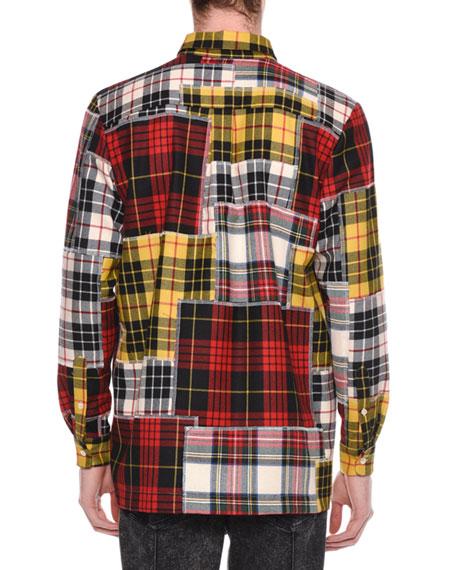 Men's Patchwork Plaid Zip-Front Shirt