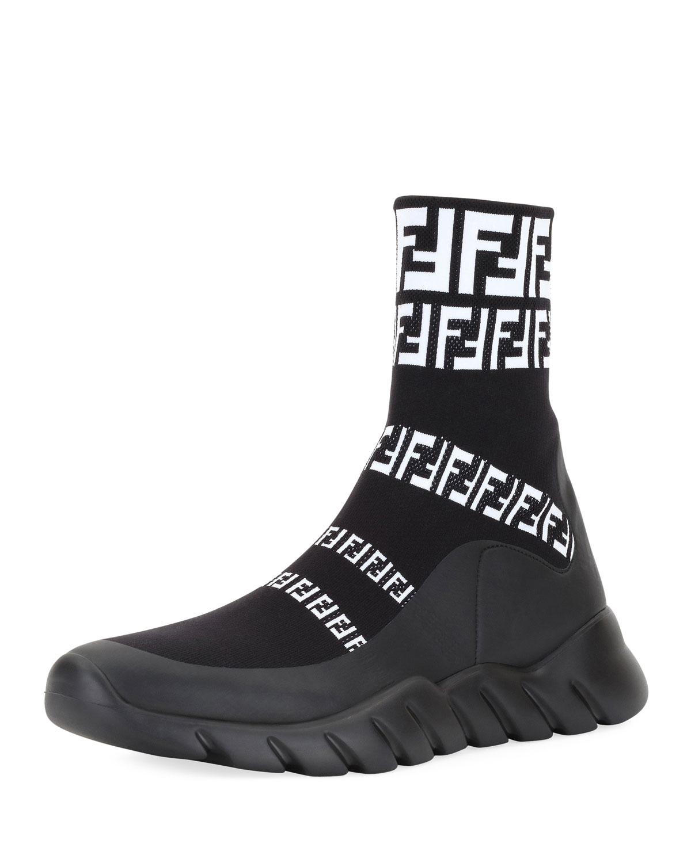 Fendi Men's FF Print Sock Boot Sneakers
