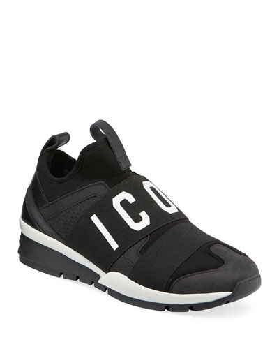 Men's Icon Neoprene & Leather Trainer Sneaker, Black
