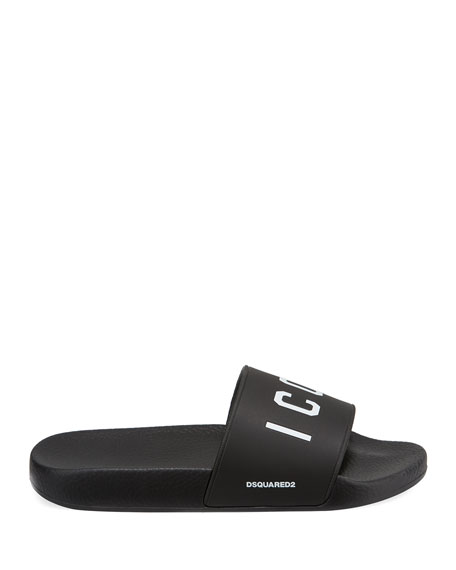 Men's Logo Rubber Slide Sandal, Black/White
