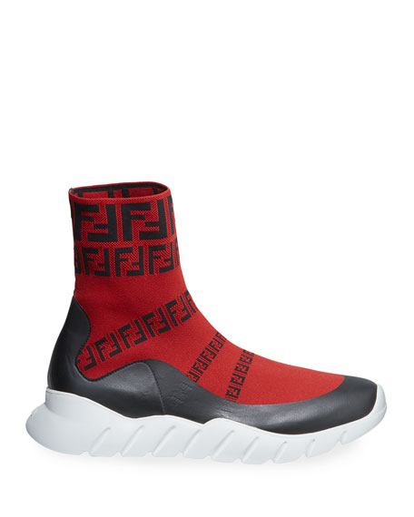 Men's FF Print Sock Boot Sneakers, Red