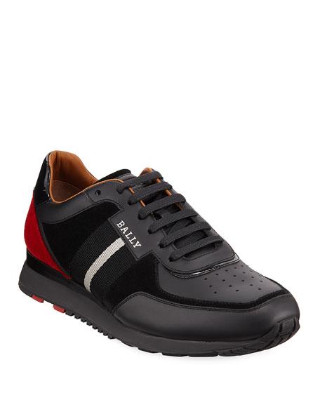 360cabffaee122 Bally Men s Aston New Leather Sneakers w  Trainspotting Stripe