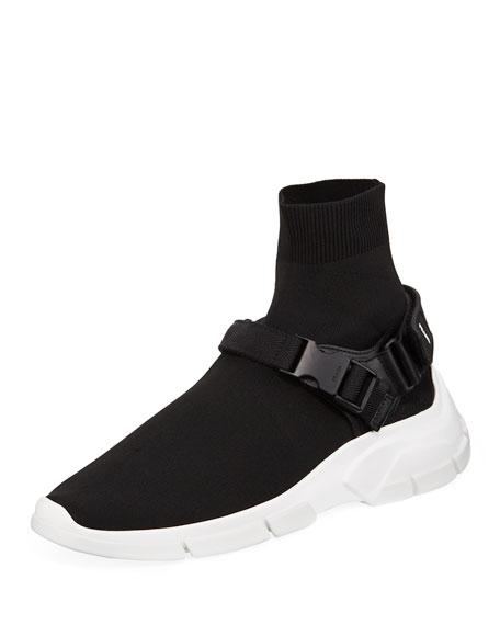 Men's Buckle Sock Boot Sneakers