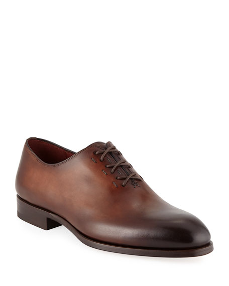 Magnanni for Neiman Marcus Men's Lace-Up One-Piece Leather