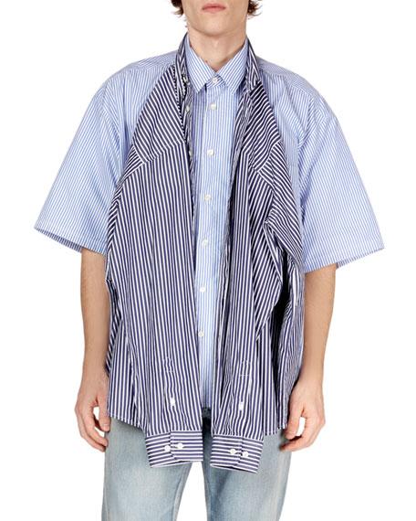 Men's Convertible Striped Sport Shirt