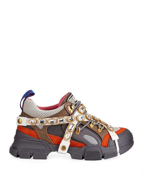 Men's Leather and Canvas Sneakers with Removable Crystals