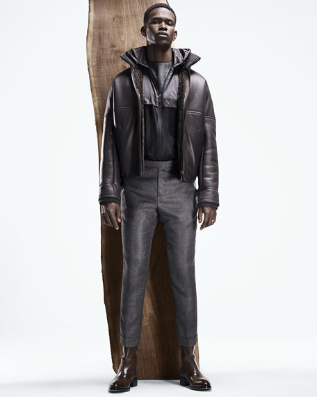 Men's Leather Bomber Jacket with Lamb Fur Lining