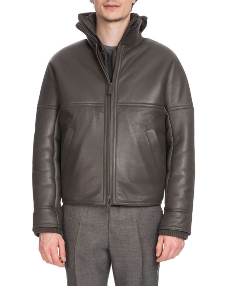 BERLUTI Men'S Leather Bomber Jacket With Lamb Fur Lining in Gray