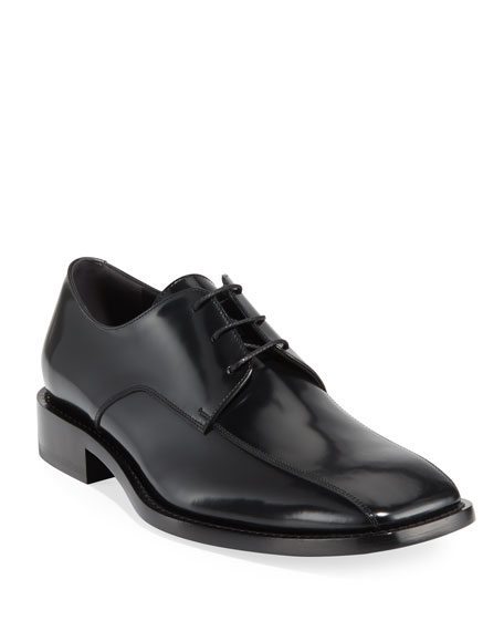 Balenciaga Men's Chrystal Patent Leather Oxford Shoes In Black