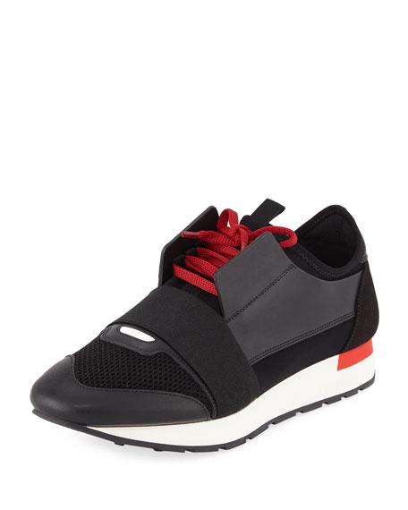 9bc4714f4b29 Balenciaga Men s Race Runner Mesh   Leather Sneakers