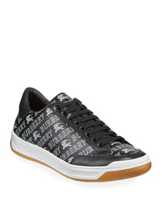 Men's Logo Print Leather Low Top Sneakers by Burberry