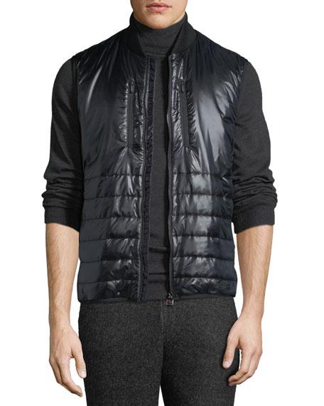 Z ZEGNA Men'S Quilted Zip-Front Vest in Black