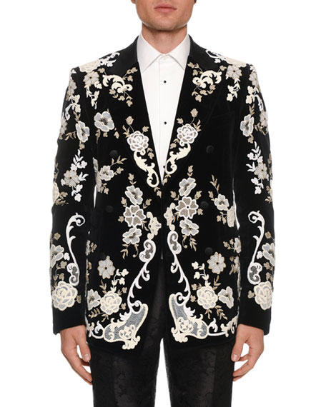 Men's Floral Lace Embroidered Evening Jacket
