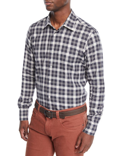 Men's Arthur Plaid Linen Sport Shirt
