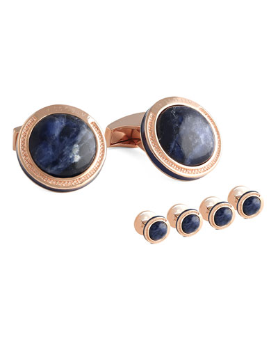 Sodalite & Rose Gold-Plated Cuff Links and Stud Set