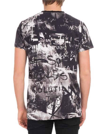 Men's Crewneck Short-Sleeve Graffiti-Print Cotton T-Shirt