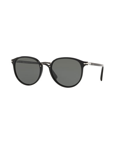 Men's PO3210S Oval Acetate Keyhole Sunglasses - Polarized Lenses