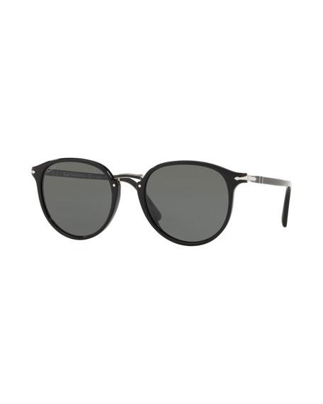 eb8bb55ff3 Persol Men s PO3210S Oval Acetate Keyhole Sunglasses - Polarized Lenses